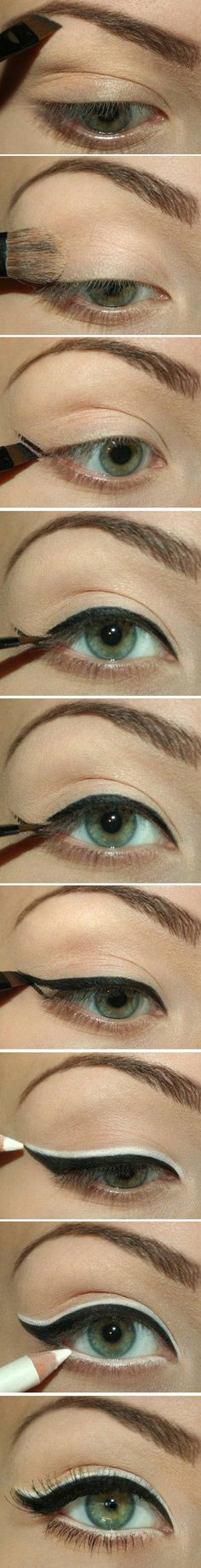 Black and White Cat Eye Cat Eyeliner Tutorial #Tutorial #Cat #Eyeliner #smokey #Seductive #date #look #Color #Eyeshadow #Ideas #Inspiration #Eyes #Makeup #Bbloggers #nails #lips