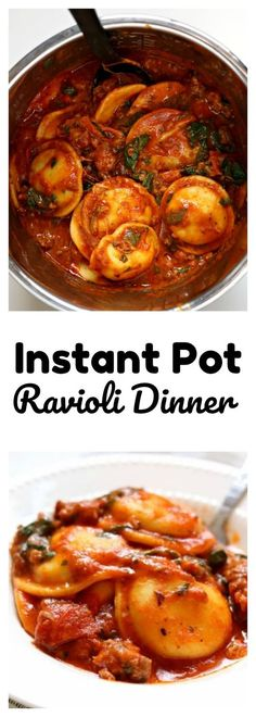 Instant Pot Sausage Pepperoni Spinach Ravioli–ravioli is cooked in a marinara sauce with Italian sausage, pepperoni, mozzarella cheese and spinach for a super fast and easy one pot meal. #instantpot #instapot