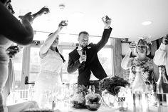 Champagne toast at Essex wedding