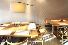 High Noon light from Zeitraum at Wagamama_Hamstead  Interior design by Macaulay Sinclair