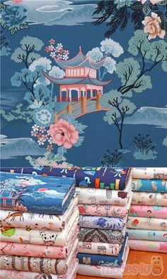 "teal fabric with pagodas, peony flowers, roses, mountains, clouds, grass, tree etc., Material: 100% cotton, Fabric Type: smooth cotton fabric, Fabric Width: 112cm (44"") #Cotton #Buildings #Houses #USAFabrics Fabric Material, Teal Fabric, Cotton Fabric, Japanese Pagoda, Peony Flower, Flowers, Echino, Modes4u, Bloemen"
