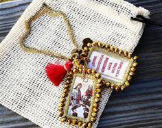 Escapulario Bordado Con Medalla De San Benito En Plata By