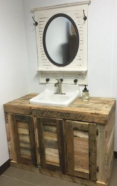 Bathroom Cabinet ~ The cabinet was custom made to enclose an open sink.  It is 48lx22dx32 1/2h and has 3 cupboards.