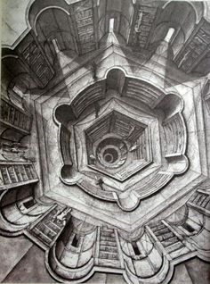 Jorge Luis Borges. The Library of Babel, Illustration by Erik Desmaziéres. 1965. love this novel and drawing. #borges