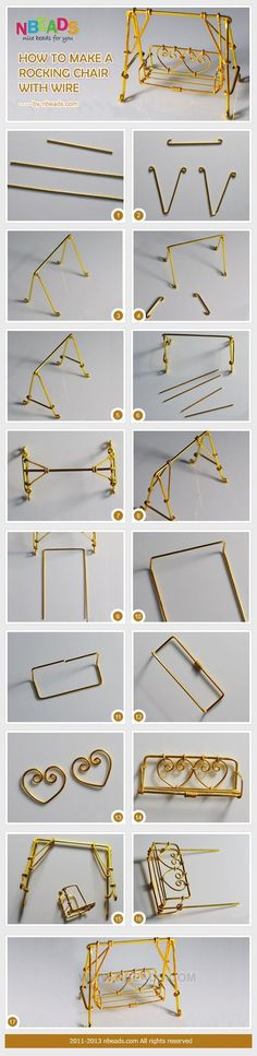 This tutorial is so great if you are interested in wire crafts. Just wrapping wires with small pliers, you can achieve chair making to a wire rocking chair. I'm quite sure you will fall in love with this magic crafting method. Now let's start our Mini Fairy Garden, Fairy Garden Houses, Fairies Garden, Fairy Crafts, Garden Crafts, Garden Ideas, Garden Art, Garden Tools, Garden Design