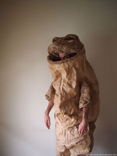 Paper Toad Costume by Amber Made from recycled materials & recyclable Cardboard, egg cartons, expandable packing paper, Japanese paper rice bags, thread, acrylic paint, watercolor paint, white glue, staples