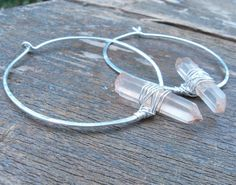 Sterling Silver Hoop Earrings Hand Hammered by PrimalPulseDesigns Sterling Silver Hoops, Silver Hoop Earrings, Clear Quartz, Quartz Crystal, Beacon Of Light, My Etsy Shop, Gemstones, Jewelry, Jewlery