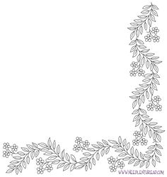 Free Hand Embroidery Pattern: Decorative Corner with leaves and flowers
