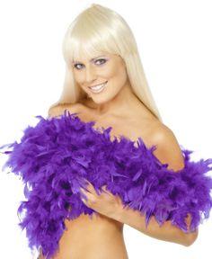 Grube i gęste boa w kolorze fioletowym, wykonane ze sztucznych piór. Doskonałe do podkreślenia charakteru wieczoru panieńskiego czy imprezy w stylu lat XX-tych.