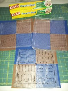 Use Press n Seal on top of quilt to preview your quilting design. You can use it as a pattern and stitch through it, but test first! It may be difficult to remove small pieces.