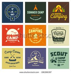 Set of retro vintage camp labels and logo graphics by Mike McDonald, via Shutterstock