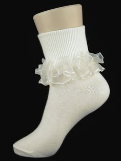 Girls White Nylon-Cotton Bobby Socks with Purple Satin & White ...