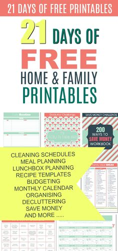 21 Days of Free Printables. Cleaning Schedules, daily planners, save money, meal planning and more . Weekly Cleaning Checklist, Cleaning Schedules, Cleaning Tips, Dinner Planner, Healthy Snacks List, Calendar Organization, Daily Planners, Family Life, Homemaking