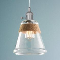 Clear Glass & Rope Pendant Light