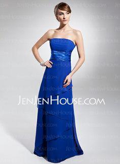 Bridesmaid Dresses - $122.99 - Empire Strapless Floor-Length Chiffon Charmeuse Bridesmaid Dress With Ruffle (007014671) http://jenjenhouse.com/Empire-Strapless-Floor-Length-Chiffon-Charmeuse-Bridesmaid-Dress-With-Ruffle-007014671-g14671
