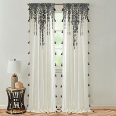Transform your window space with the charming Global Caravan Marrakech Rod Pocket Window Curtain Panel. Boasting a bohemian design, this flippable cotton panel is embellished with tassel details and gently diffuses light for a refreshing look. Shear Curtains, Bohemian Curtains, Bohemian Bedroom Decor, Window Curtains, Unique Curtains, Diy Curtains, Curtain Panels, Macrame Curtain, Beaded Curtains