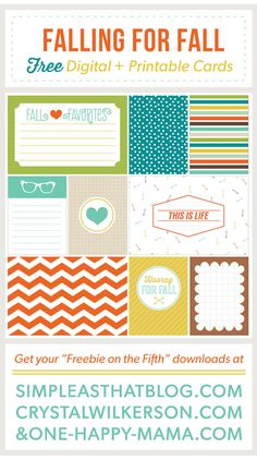 Free Fall themed journaling and filler cards for pocket style memory keeping.