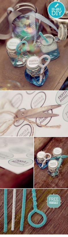 DIY - Bubble Liquid Jars + Pipe Cleaner Wands. Free PDF Template for Labels + Instructions.