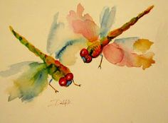 Pair of dragonflies, by Delilah