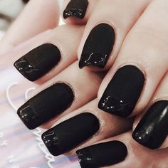 WOW! #matte #black with #gloss tip #nails look #cute!  #matteblack #matteblacknails #manicure #blacknails #cute #classy #fashionable #nailart #naildesign #stylish