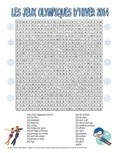 Fun French word search with the winter sports that are a part of major national and international competitions. French Teacher, Teaching French, Hidden Words, Core French, French Classroom, Teacher Education, Teaching Social Studies, French Words, French Lessons
