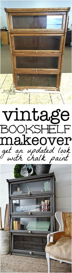 Vintage Bookshelf Makeover Vintage bookshelf makeover see how to get an updated quick & easy look with chalk paint! A must pin to update your furniture. The post Vintage Bookshelf Makeover appeared first on Furniture ideas. Refurbished Furniture, Paint Furniture, Repurposed Furniture, Furniture Projects, Furniture Makeover, Vintage Furniture, Trendy Furniture, Black Furniture, Crate Furniture