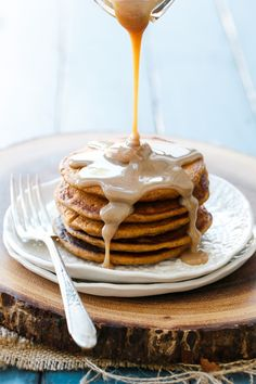 Good morning indeed... these Sweet Potato Pancakes with Cinnamon Cream Syrup are perfect for fall!