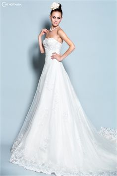 Pearl bridal wedding gowns · Strapless Lace and Pearl Trimmed Tulle Gown  with Chapel Train by Chic Nostalgia Applique Wedding Dress c6fa613a8389