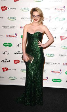 Helen Flanagan flaunts a glittery green strapless dress at the Spectacle of the Year 2012 in London