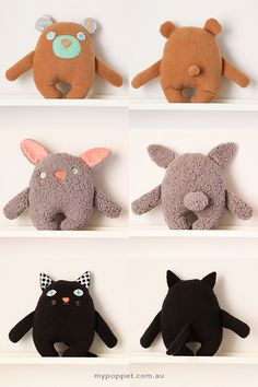 DIY: 3 unique softies from one basic shape #FreePattern #Bear #Cat #Bunny