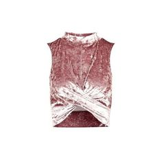 TopShop Crushed Velvet Twist Front Top (1.525 RUB) ❤ liked on Polyvore featuring rose