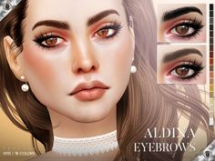 Aldina Eyebrows N113 (18 Swatches) - created by Pralinesims