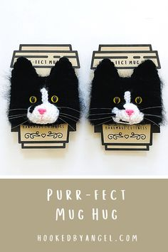 Purr-fect realistic cat mug hug crochet patterns. You can make unlimited variations using these patterns simply by changing the yarn, eye and nose colors. Just what you need because you know how hard… More Crochet Cat Pattern, Crochet Mask, Crochet Patterns, Cat Crochet, Cat Lover Gifts, Cat Gifts, Cat Lovers, Crochet Mug Cozy, Crochet Gifts