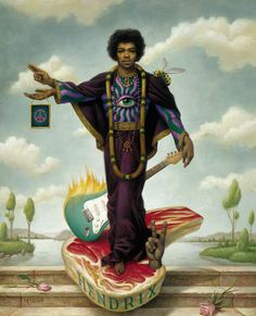 Jimi Hendrix by Mark Ryden. Gahhh, I love how weird Mark Ryden is. Mark Ryden, Jimi Hendrix, Illustrations, Illustration Art, Pablo Picasso, Arte Lowbrow, Rolling Stone Magazine Cover, Psy Art, Cultura Pop