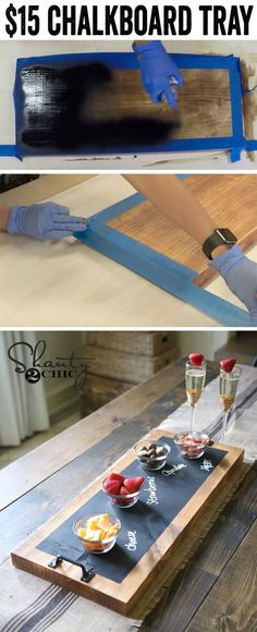 DIY Chalkboard Serving Tray Love these chalkboard serving trays! So easy…. These would make the best gifts… The post DIY Chalkboard Serving Tray appeared first on DIY Crafts. Diy Tableau Noir, Diy Projects To Try, Craft Projects, Project Ideas, Pallet Projects, Diy Pallet, Pallet Signs, Wood Shop Projects, Outdoor Pallet