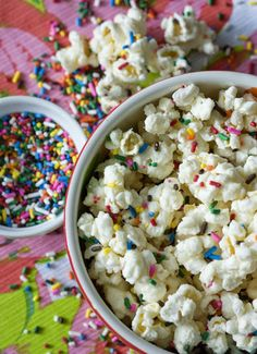 Funfetti popcorn would be so good on the snack table at a kid party http://thestir.cafemom.com/food_party/143264/sweet_salty_cake_batter_popcorn?utm_source=pinterest