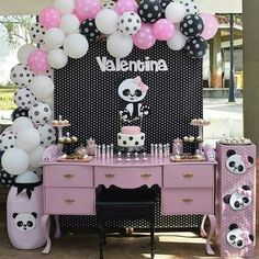 Jay D'Event Stylist By:arncamugao design. Panda Themed Party, Panda Birthday Party, Panda Party, Baby Birthday, Birthday Parties, Birthday Cake, Panda Decorations, Party Table Decorations, Balloon Decorations