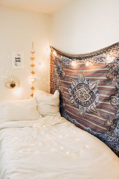 Lady Scorpio | @Ladyscorpio101 ☽☽ ladyscorpio101.com ☆ Perfect Bedroom Decor for the Hippie at heart ♡ Alexa Halladay designing a Boho Bungalow - Light Pastel Pink Tapestry with Copper Fairy Lights! Including Moon Phase Wall Hangings! Lolita Mandala Tapestry
