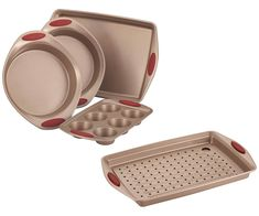Rachael Ray Cucina 4 Piece Nonstick Bakeware Set, Cranberry Red bundle with 2 Piece Nonstick Crisper Pan Set, Latte Brown with Cranberry Red Handle Grips (6 Items) ... (This is an affiliate link) #bakewaresets