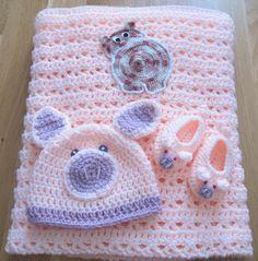 Couverture pour bébé petit cochon bonnet chaussons