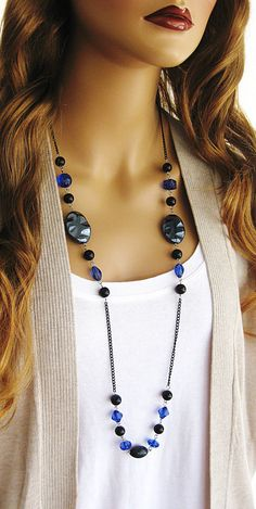 Long Black Beaded Necklace Long Blue Beaded by RalstonOriginals