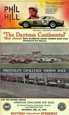 American F1 World Champion Phil Hill and Mexican F1 star Pedro Rodriguez powered their Ferrari 250 GTO to victory at the 16 February 1964 Daytona Continental, the 2000 km predecessor to the 24 Hours of Daytona. Ferrari GTO's finished 1-2-3 at the race, ahead of Dan Gurney's Shelby Cobra in P4.