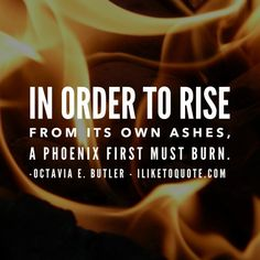 In order to rise from its own ashes, a Phoenix first must burn. - Octavia E. Butler