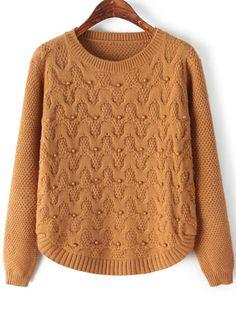 Khaki Round Neck Long Sleeve Beaded Knit Sweater - Sheinside.com