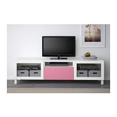IKEA - BESTÅ, TV unit, black-brown/Selsviken high gloss/beige clear glass, drawer runner, push-open, 180x40x48 cm, , The drawer and doors have integrated push-openers, so you don't need handles or knobs and can open them with just a light push.You can control your electronic equipment with the doors closed, as the remote control works through the glass.It's easy to keep the cords from your TV and other devices out of sight but close at hand, as there are several cord outlets at the back of…