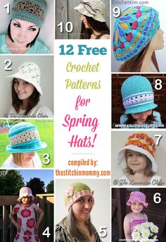 12 Free Crochet Patterns for Spring Hats compiled by The Stitchin' Mommy | www.thestitchinmommy.com