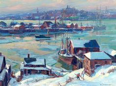 """""""Frozen Harbor, Gloucester,"""" Emile Gruppe, oil on canvas, 30 x 40"""", private collection."""