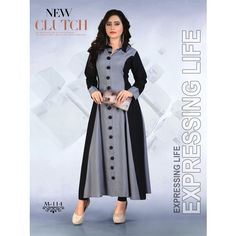 Rayon Party Wear Kurti In Grey Colour Churidar Designs, Kurta Designs Women, Kurti Neck Designs, Dress Neck Designs, Kurti Designs Party Wear, Blouse Designs, Party Wear Kurtis, Party Wear Dresses, Kurti Patterns