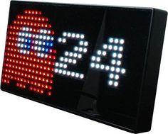 Pac-Man Premium Led Desk Clock 512 Vibrant Leds Display Classic Animations Fro