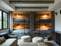 kids bunk room- Love the added lighting! Luxury Log Cabin in Jackson Hole, Wyoming Luxury Log Cabins, Modern Log Cabins, Rustic Modern Cabin, Rustic Wood, Contemporary Cabin, Rustic Office, Rustic Bench, Rustic Shelves, Rustic Outdoor